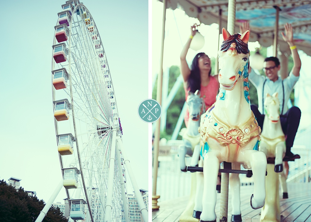 Ferris Wheel, Gwangali Amusement Park, Couple on a carousel, Amusement park engagement, carnival engagement photos, Aaron nicholas Photgraphy,