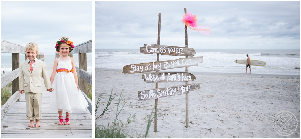 Folly Beach Wedding - flower girl and ring bearer and driftwood wedding sign, DIY beach wedding decor, Photo by Aaron Nicholas Photography, destination wedding photographer based in Charleston, South Carolina_0950