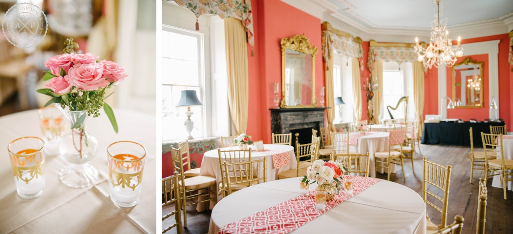 Charleston wedding photo by Aaron Nicholas Photography at the William Aiken House, Coral and gold wedding colors, tiger lily flowers, A. Caldwell Events, interior of william aiken house