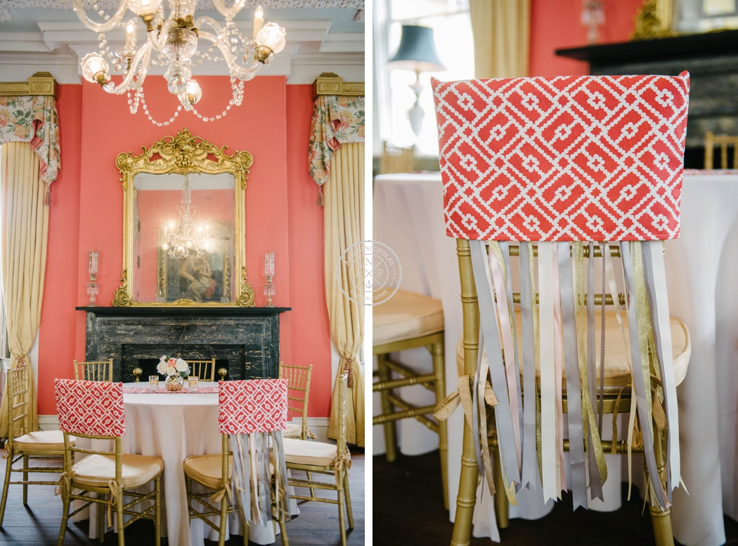 Charleston wedding photo by Aaron Nicholas Photography at the William Aiken House, Coral and gold wedding colors, tiger lily flowers, A. Caldwell Events, William aiken house interior, decorate the brides chair