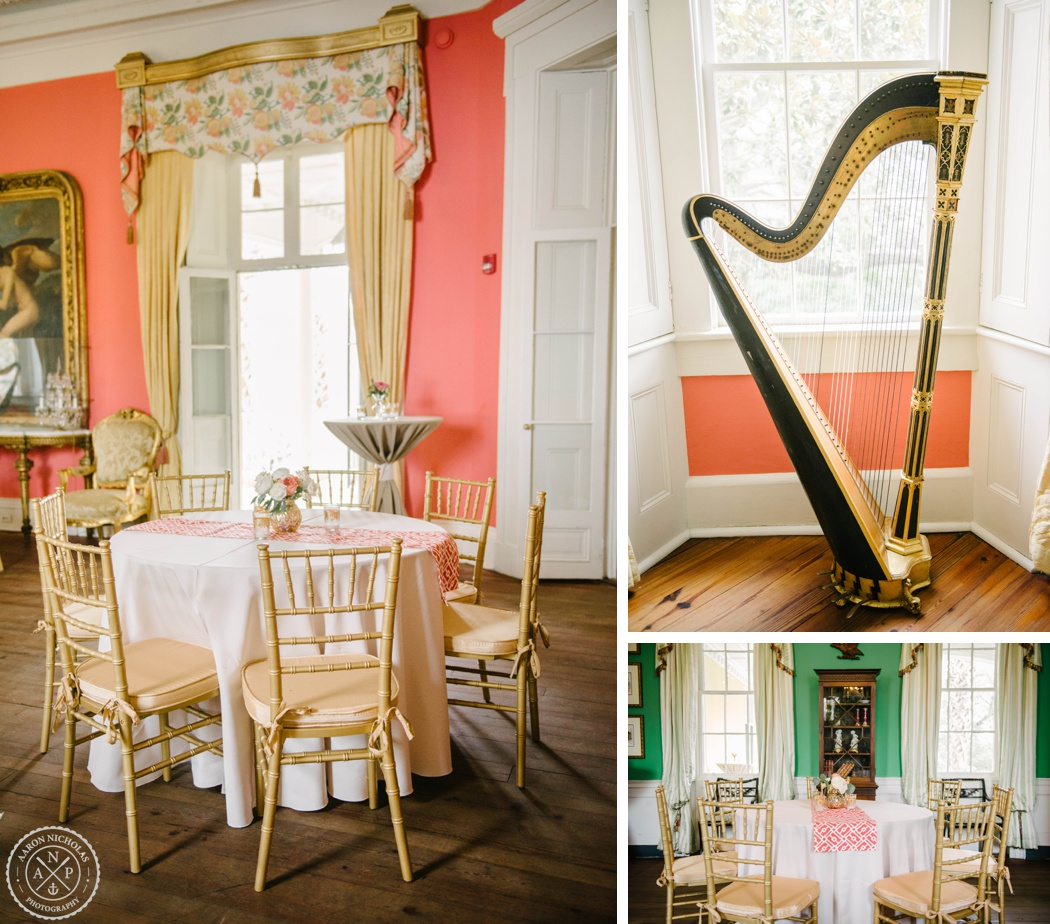 Charleston wedding photo by Aaron Nicholas Photography at the William Aiken House, Coral and gold wedding colors, tiger lily flowers, A. Caldwell Events, William Aiken House interior