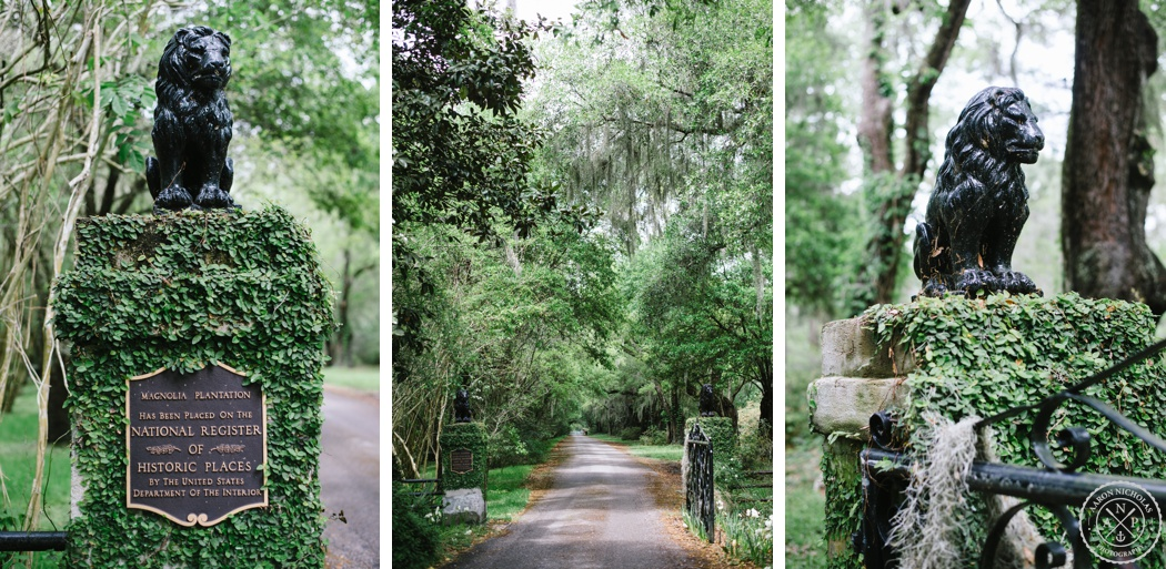Magnolia Plantation front entrance, Charleston Proposal and Engagement Session by Aaron and Jillian Photography - Charleston Wedding Photographer