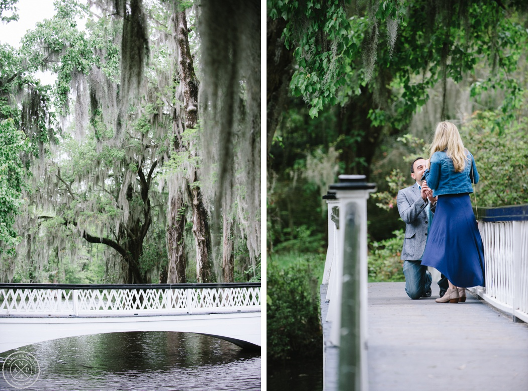 Man proposing on the bridge at Magnolia Plantation. Magnolia Plantation Proposal and Engagement Session by Aaron and Jillian Photography - Charleston Wedding Photographer