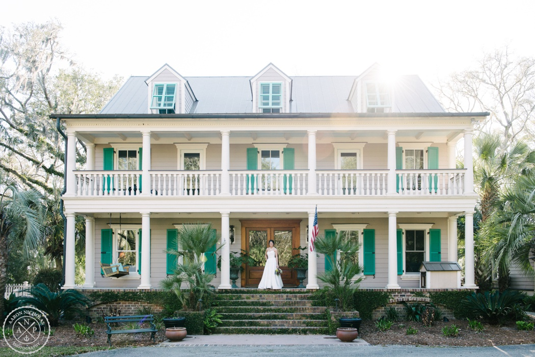 Aaron and Jillian Photography, Palmetto Landing, Charleston wedding venue, Charleston wedding photographer, Charleston bridal session, Blanch Darby, Bridal Session, bride in front of large private home
