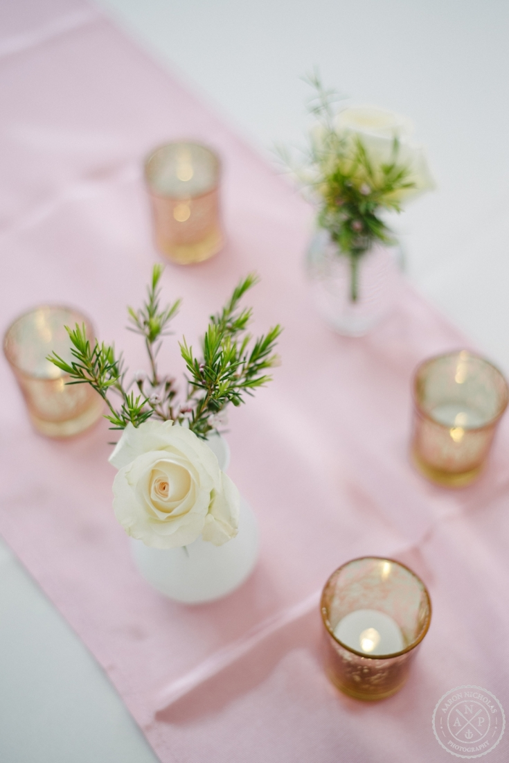 blush pink and cream wedding decor at an Old Wide Awake Wedding. Photo by Charleston wedding photographers Aaron and Jillian Photography in South Carolina