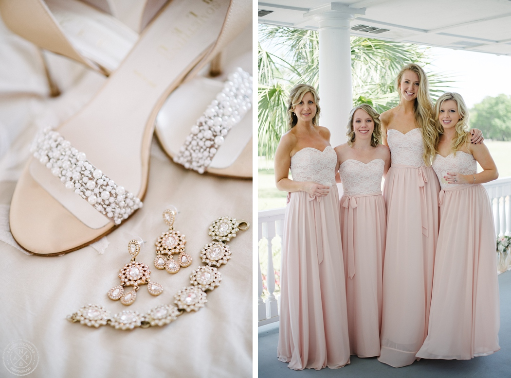 Details and bridesmaids at an Old Wide Awake Wedding. Photo by Charleston wedding photographers Aaron and Jillian Photography in South Carolina