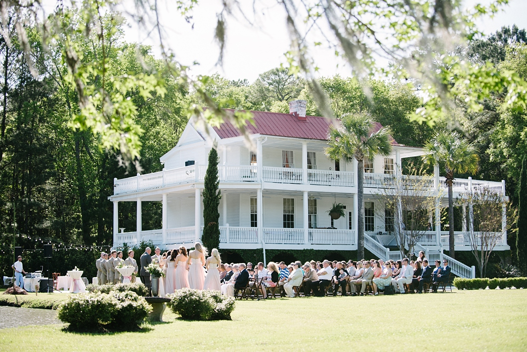 Old Wide Awake Wedding ceremony. Photo by Charleston wedding photographers Aaron and Jillian Photography in South Carolina