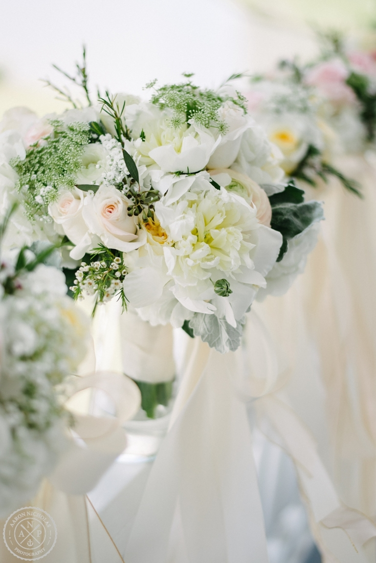 Flowers at an Old Wide Awake Wedding. Photo by Charleston wedding photographers Aaron and Jillian Photography in South Carolina