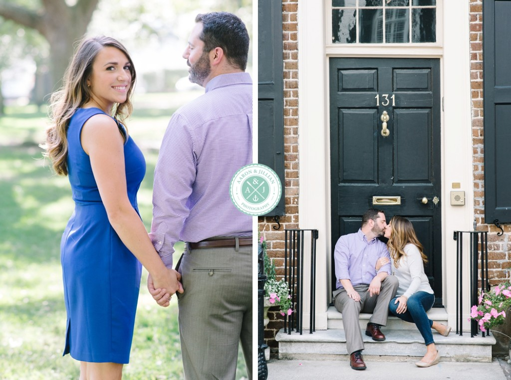 engagement pictures at The Battery Park by Aaron and Jillian Photography