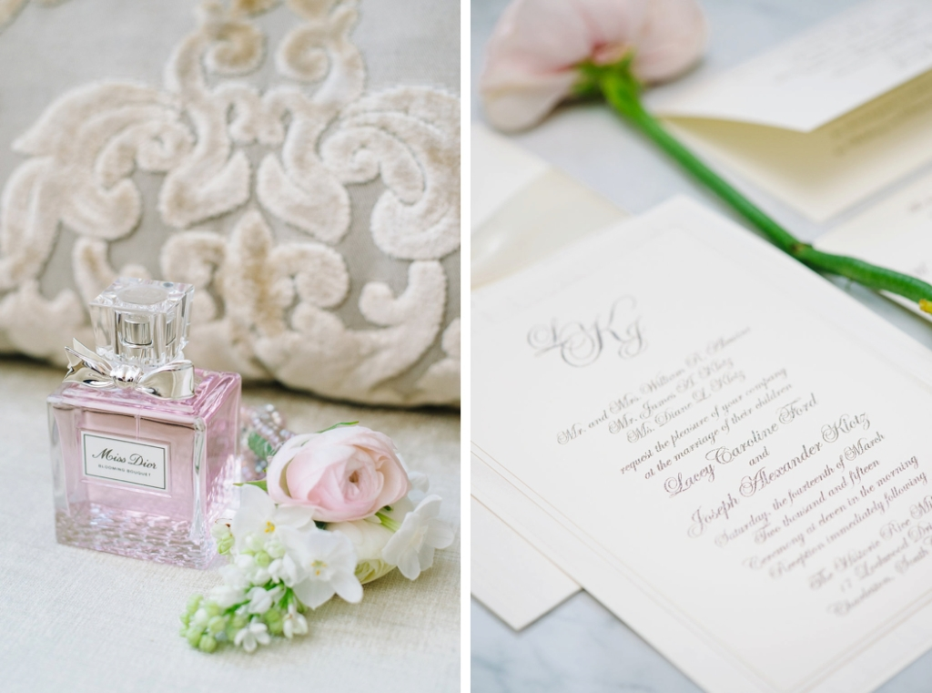 Historic Rice Mill wedding, by Aaron and Jillian Photography, wedding details, miss dior perfume, wedding invitation photo,