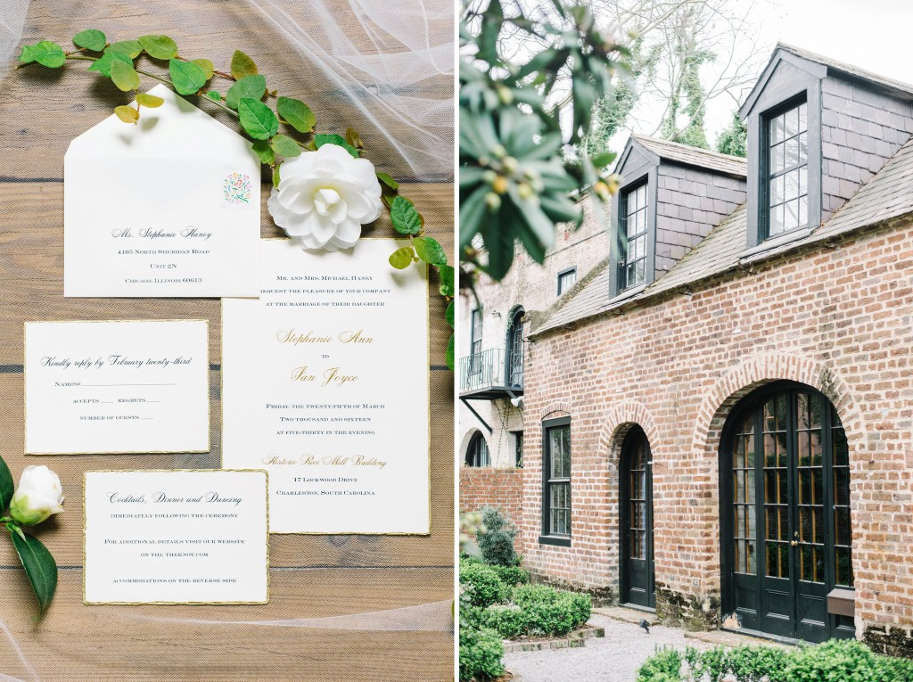 Downtown Charleston Bridal Suite 97 Rutledge Carriage House and Charleston Wedding invitation suite