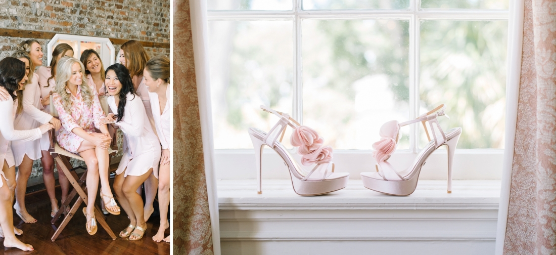 Pink Badgley Mischka heels for a at Lowndes Grove Plantation wedding by Aaron and Jillian Photography in Charleston, SC Bridesmaids in matching robes at Pink Dot Beauty Bar for a at Lowndes Grove Plantation wedding by Aaron and Jillian Photography in Charleston, SC lowndes-grove-wedding-by-charleston-wedding-photographer-aaron-and-jillian-photography_0020