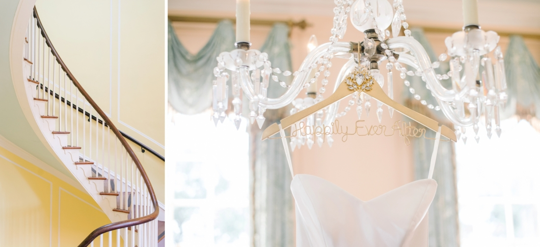 "Spiral staircase and wedding gown hanging from a ""Happily Ever After"" hanger at a at Lowndes Grove Plantation wedding by Aaron and Jillian Photography in Charleston, SC at lowndes-grove-wedding-by-charleston-wedding-photographer-aaron-and-jillian-photography_0023"