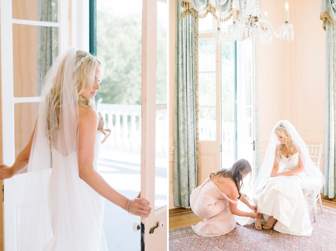 Beautiful blonde bride at at Lowndes Grove Plantation wedding by Aaron and Jillian Photography in Charleston, SC lowndes-grove-wedding-by-charleston-wedding-photographer-aaron-and-jillian-photography_0026