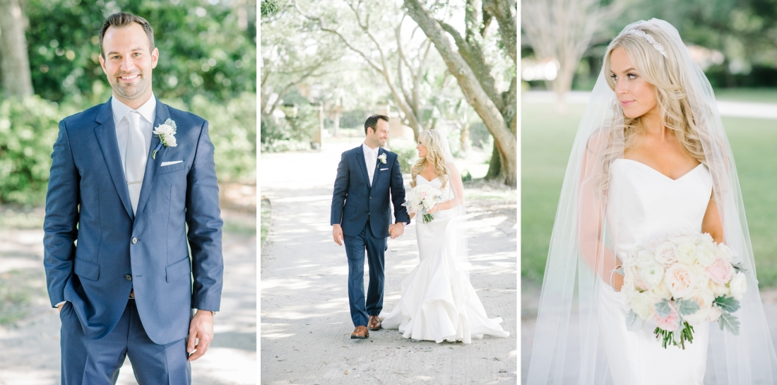 Bride and groom on the dirt driveway at their at Lowndes Grove Plantation wedding by Aaron and Jillian Photography in Charleston, SC lowndes-grove-wedding-by-charleston-wedding-photographer-aaron-and-jillian-photography_0032