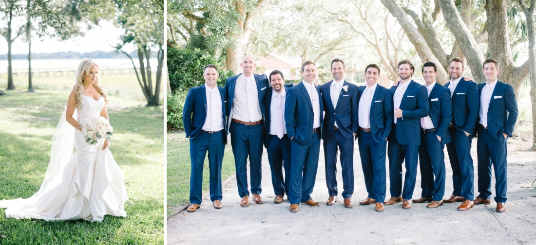 9 groomsmen in navy suits at a at Lowndes Grove Plantation wedding by Aaron and Jillian Photography in Charleston, SC lowndes-grove-wedding-by-charleston-wedding-photographer-aaron-and-jillian-photography_0033