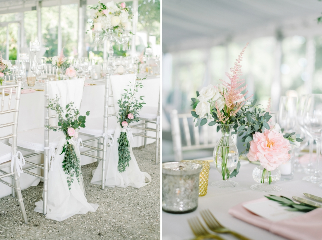 Florals on the back of the bride and groom chairs at a Summer at Lowndes Grove Plantation wedding by Aaron and Jillian Photography in Charleston, SC lowndes-grove-wedding-by-charleston-wedding-photographer-aaron-and-jillian-photography_0038