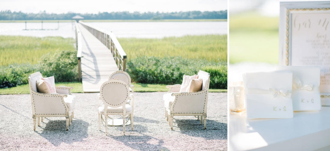 Classic and elegant lounge furniture near the water at a at Lowndes Grove Plantation wedding by Aaron and Jillian Photography in Charleston, SC lowndes-grove-wedding-by-charleston-wedding-photographer-aaron-and-jillian-photography_0040
