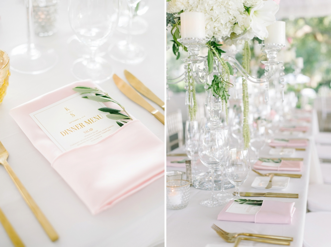 Blush linens, gold cutlery and glass candelabras at a Lowndes Grove Plantation wedding by Aaron and Jillian Photography in Charleston, SClowndes-grove-wedding-by-charleston-wedding-photographer-aaron-and-jillian-photography_0043