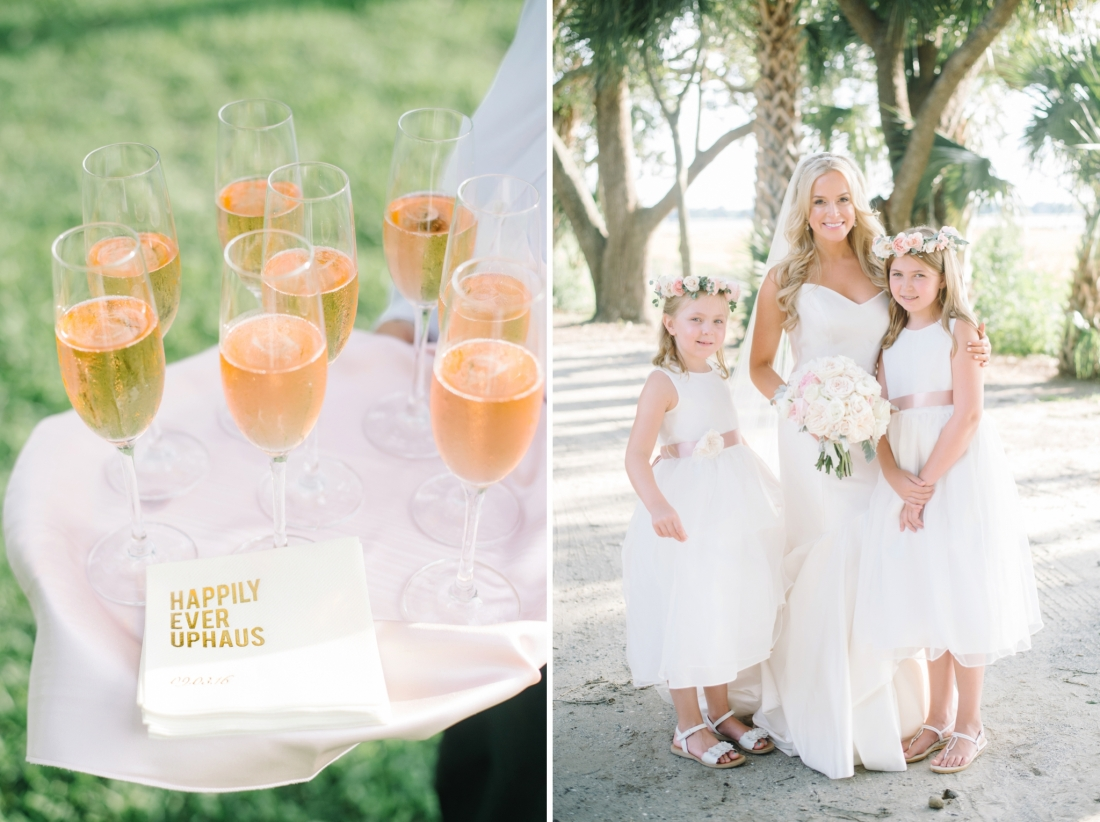 custom cocktail napkins in ivory and gold at a Charleston wedding at Lowndes Grove Plantation by Charleston wedding photographers, Aaron and Jillian Photography lowndes-grove-wedding-by-charleston-wedding-photographer-aaron-and-jillian-photography_0057