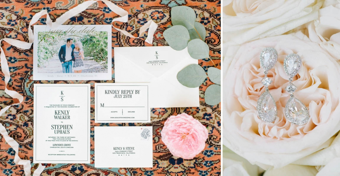 wedding Invitation suite and drop diamon earrings for a at Lowndes Grove Plantation wedding by Aaron and Jillian Photography in Charleston, SC wedding-invitation-suite
