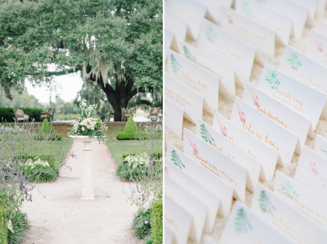 Middleton Place wedding and cocktail hour decor by Charleston wedding photographers Aaron and Jillian Photography_00103