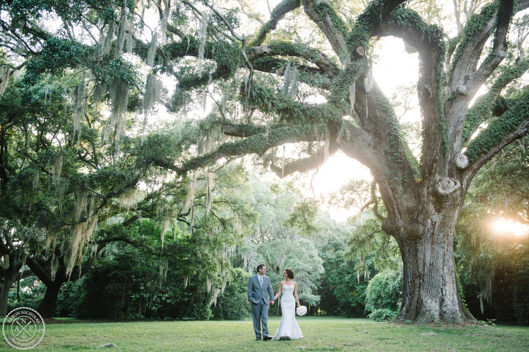 Aaron and Jillian Photography, Bride and groom under spanish moss and live oak trees, Charline and Anthony