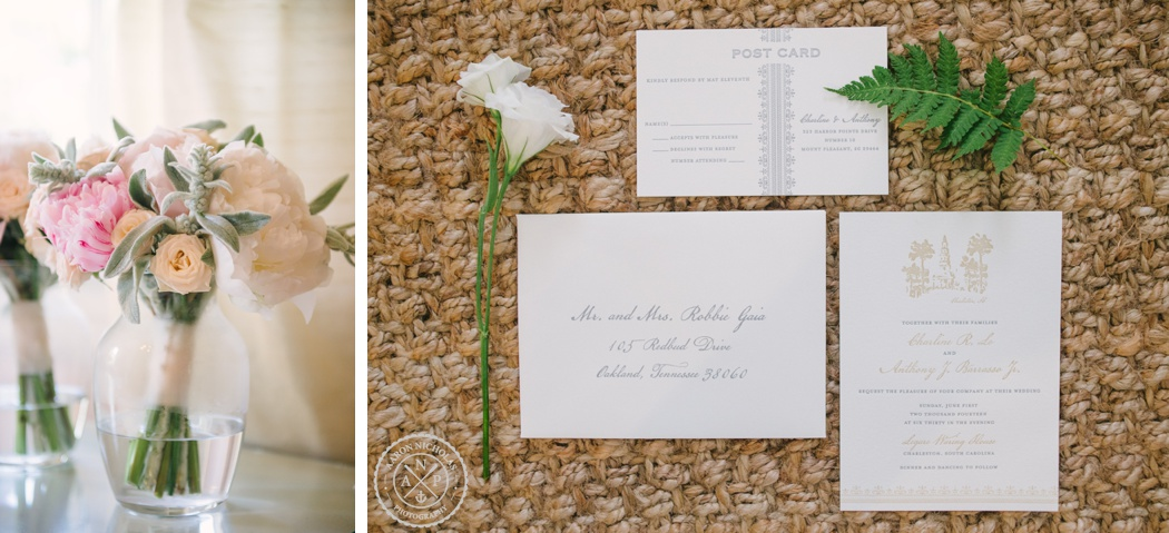 Aaron and Jillian Photography, Wildflowers Charleston florist, The silver starfish wedding invitations, Charline and Anthony