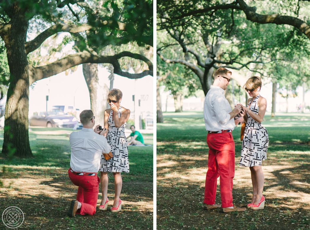 Surprise Proposal and Engagement Session at the Battery Park and downtown Charleston - by Charleston Wedding photographers Aaron Nicholas Photography -_0002
