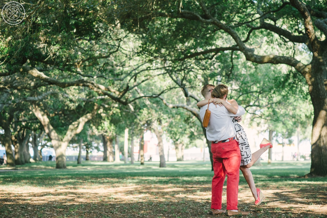 Surprise Proposal and Engagement Session at the Battery Park and downtown Charleston - by Charleston Wedding photographers Aaron Nicholas Photography -_0003