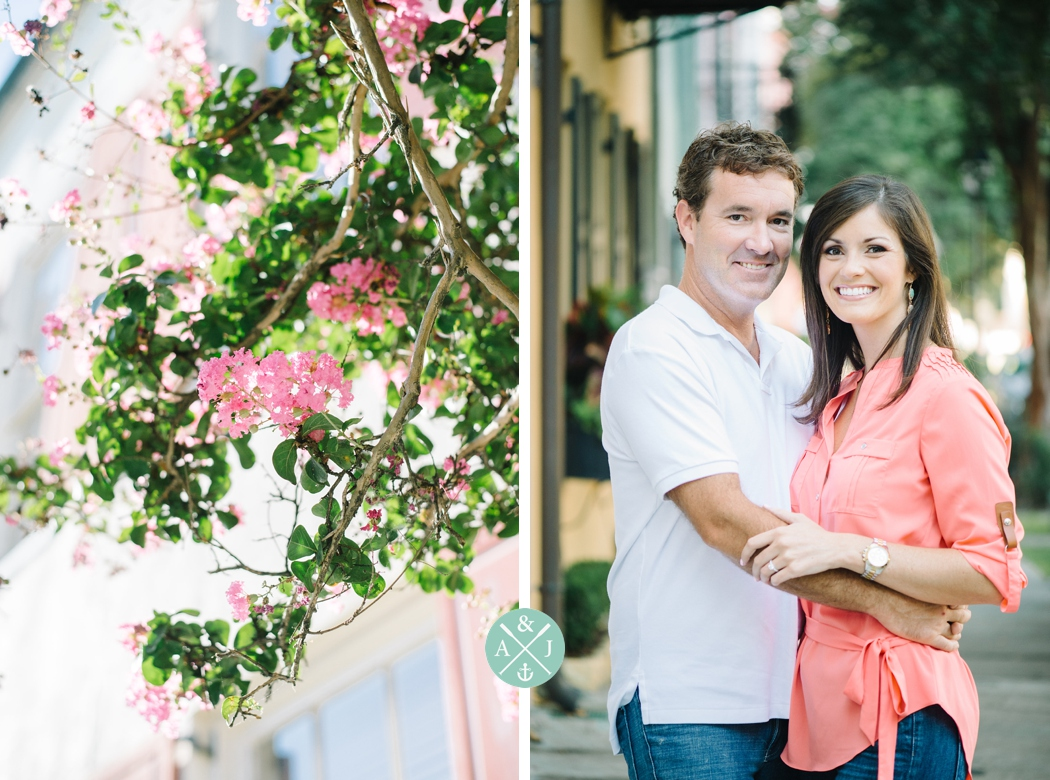 rainbow row engagement session by Charleston wedding photographers Aaron and Jillian Photography