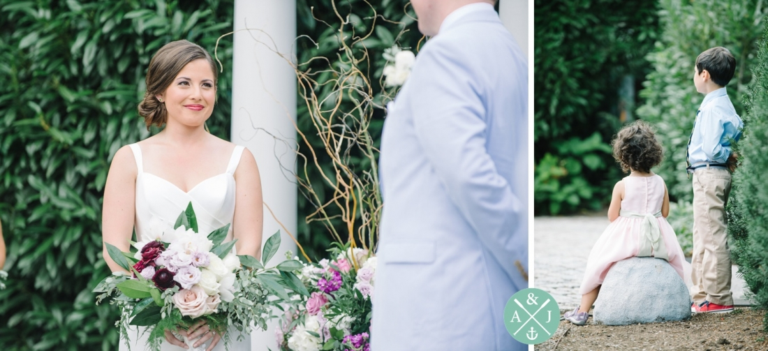 Bride smiling at her groom at a New York Botanical Gardens wedding by Charleston wedding photographers Aaron and Jillian Photography -_0041