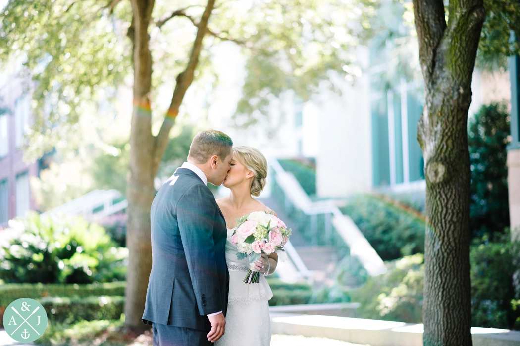 Bride and groom kissing, southern wedding, wedding first look, Anna + Jon Bak