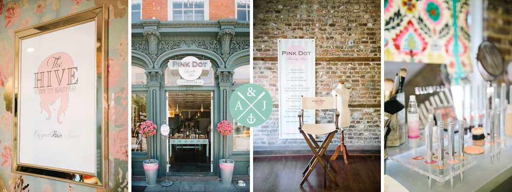 Inside Pink Dot Beauty Bar, Great place to get ready for a wedding in Charleston, Anna + Jon Bak