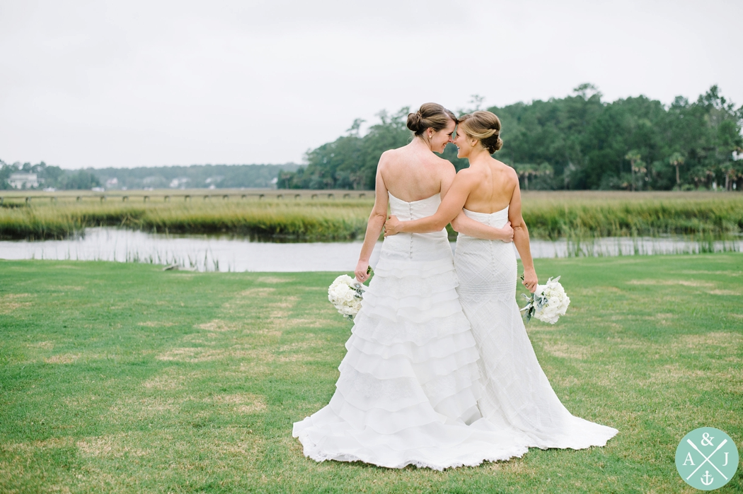 same sex wedding in charleston, 2 brides, how to pose 2 brides, Charleston Wedding Photos by Aaron and Jillian Photography - Dunes West Wedding Reception and bridal party portraits 18