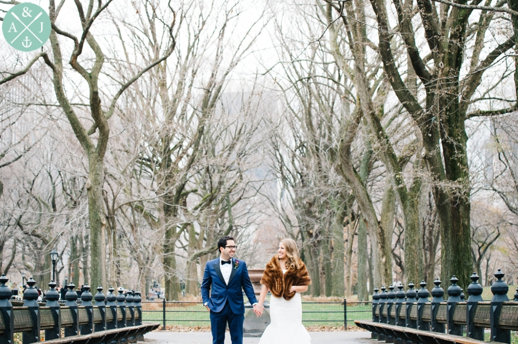 Bride and Groom photos in Central Park, fur shawl, maggie sotero dress, blue and black tux, Greek New York City Wedding by International Wedding Photographers Aaron and Jillian Photography - Charleston Wedding Photographers -1
