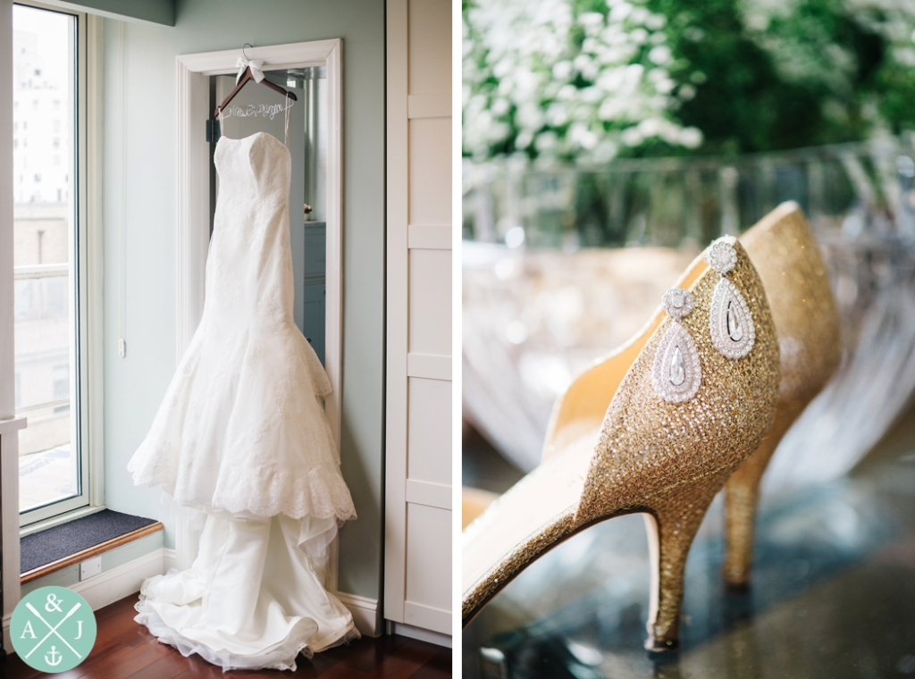 Maggie Sotero wedding dress in New York, gold sparkly heels, dangly bridal earrings, Greek New York City Wedding by International Wedding Photographers Aaron and Jillian Photography - Charleston Wedding Photographers -_0002