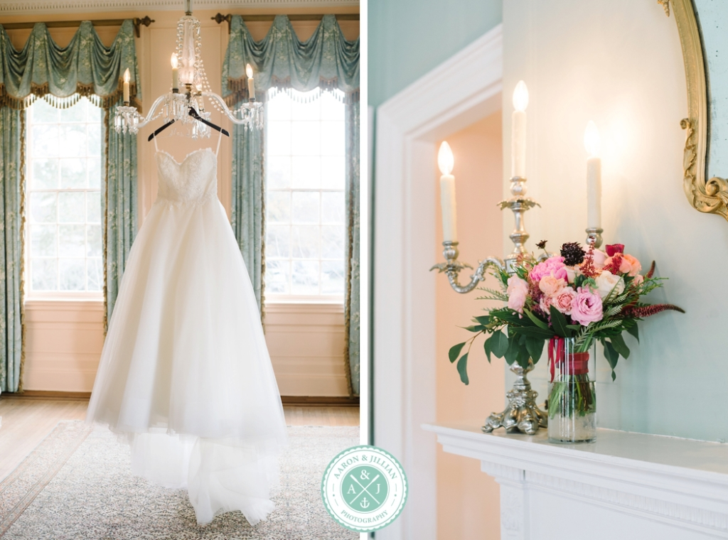 December Lowndes Grove Wedding by Charleston Wedding Photographer Aaron and Jillian Photography - Wedding gown at Lowndes Grove, how to take beautiful wedding detail photos, winter wedding flowers,